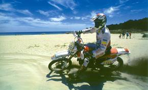 Rider Antonio Colombo demonstrates the 2WD Yamaha in the sand on a beach in Italy. This is perfect terrain for 2WD!