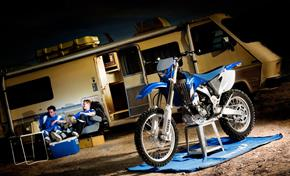 WR250F in the paddock with useful Yamaha Genuine accessories
